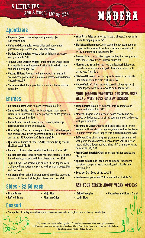 Taqueria Hidalgo's full menu