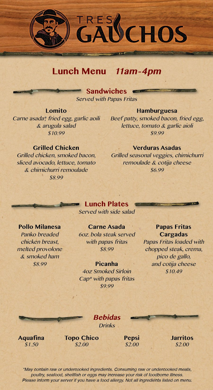 Tres Gauchos Lunch Menu